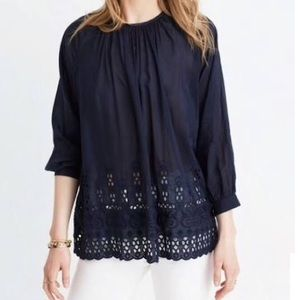 Madewell / Navy Blue Eyelet Top S xs